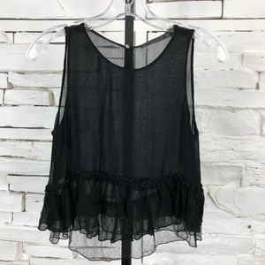 Zara Ruffle Tank Top Black Small 1013